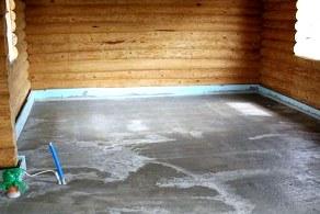 Баня и бетонный пол